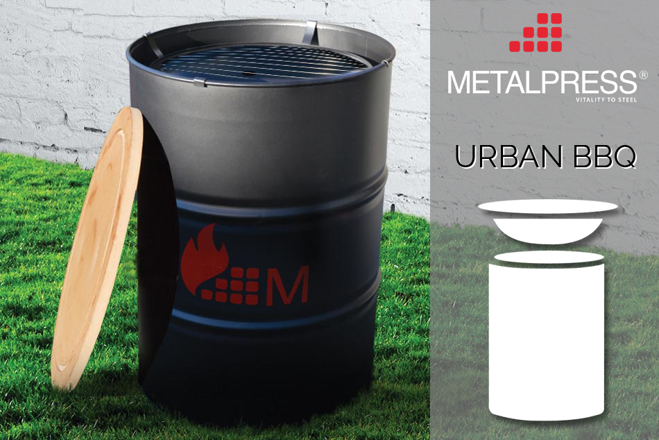 Urban - die Designer-Feuertonne mit integriertem Grill
