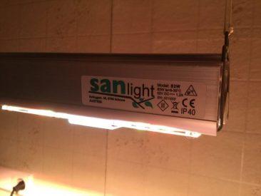 Montiert sind 2 SANlight S2W mit je etwas über 60 Watt.