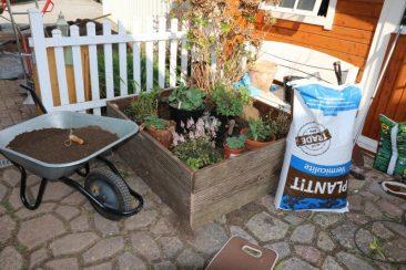 Aufgefüllt, etwas Kompost in der Erde, natürliche Perlite zum Lockern des kompakten Mutterbodens und für die spätere Bepflanzung arrangiert. Nun nur noch in jedes Pflanzloch z. B. Urgesteinsmehl für eine längerfristige Nährstoffversorgung...