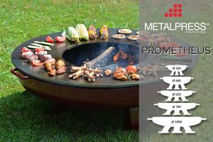 Prometheus die Designer-Feuerschale mit integriertem Grill