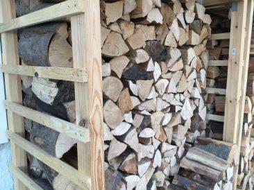 Wie man sieht. Ach ja... Bei einer üblichen Scheitlänge passen hier drei Reihen Holz hintereinander. Sauberes Stapeln und Reihesetzen vorausgesetzt.
